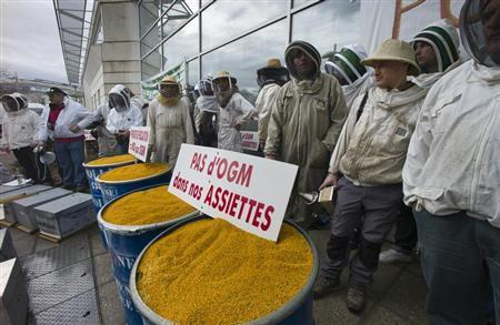 French beekeepers demonstrate in front of French Monsanto headquarters in Bron
